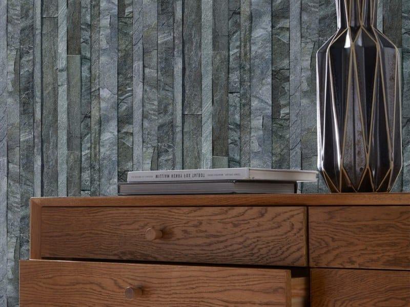 Stone effect wallpaper GREY STRIPPED SLATE by Koziel