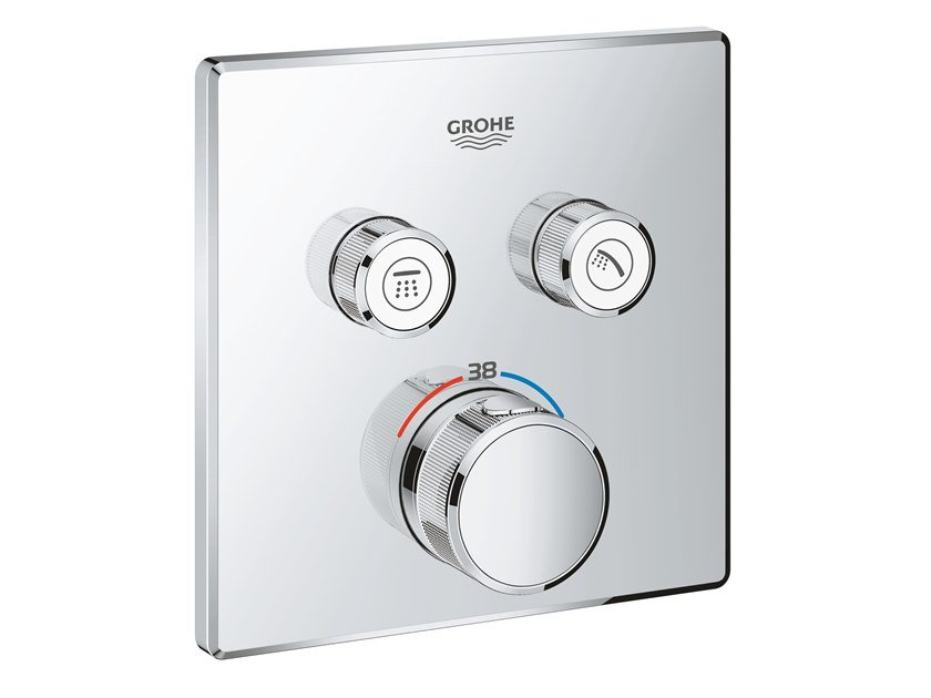 Recessed shower mixer with plate GROHTHERM SMARTCONTROL 29124000 | Thermostatic shower mixer by Grohe