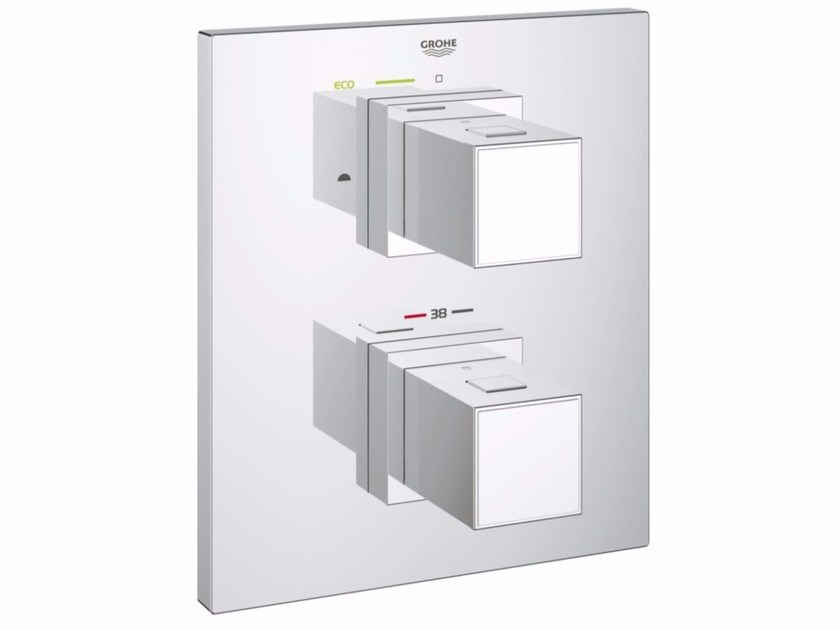 Wall-mounted thermostatic bathtub mixer GROHTHERM CUBE | Bathtub mixer with plate by Grohe