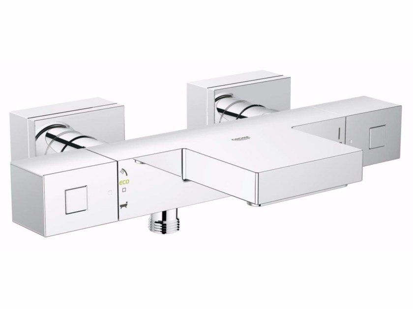 Wall-mounted thermostatic bathtub mixer with diverter GROHTHERM CUBE | Thermostatic bathtub mixer by Grohe