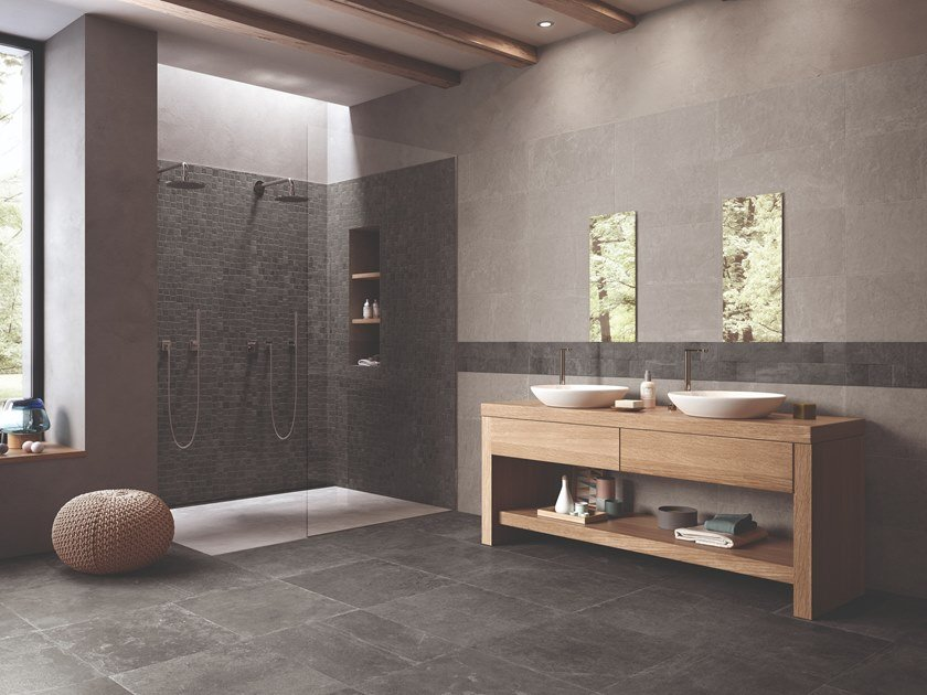 Porcelain stoneware wall/floor tiles with stone effect GROOVE BRIGHT GREY by Provenza by Emilgroup