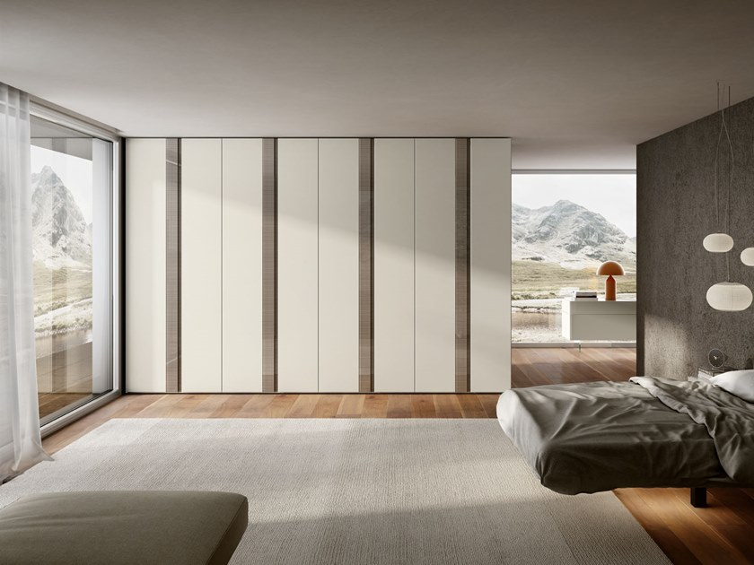 Sectional wooden wardrobe GROOVE by Lago