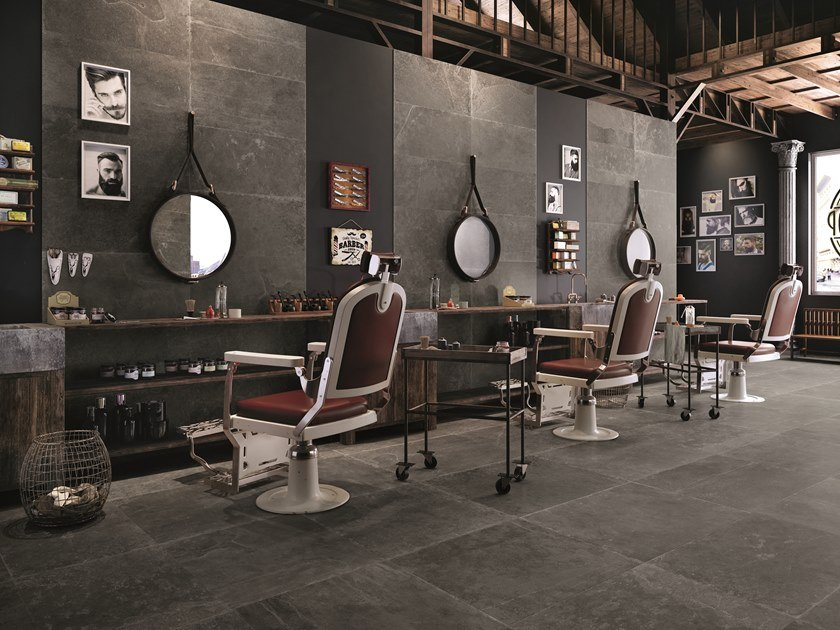 Porcelain stoneware wall/floor tiles with stone effect GROOVE MISTIQUE BLACK by Provenza by Emilgroup