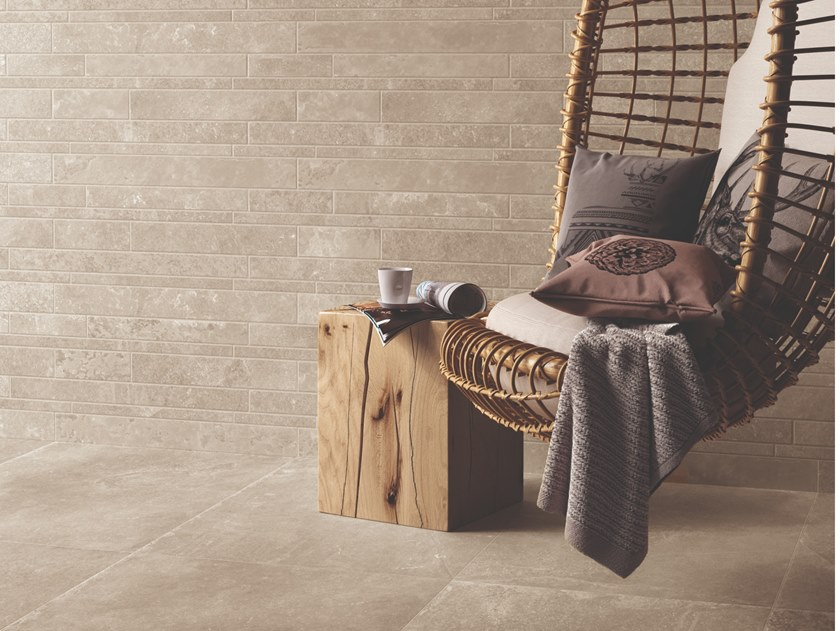 Porcelain stoneware wall/floor tiles with stone effect GROOVE NUDE BEIGE by Provenza by Emilgroup