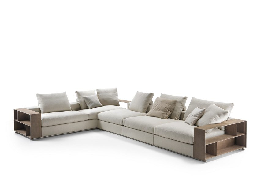 Sectional fabric sofa with storage space GROUNDPIECE | Sectional sofa by Flexform
