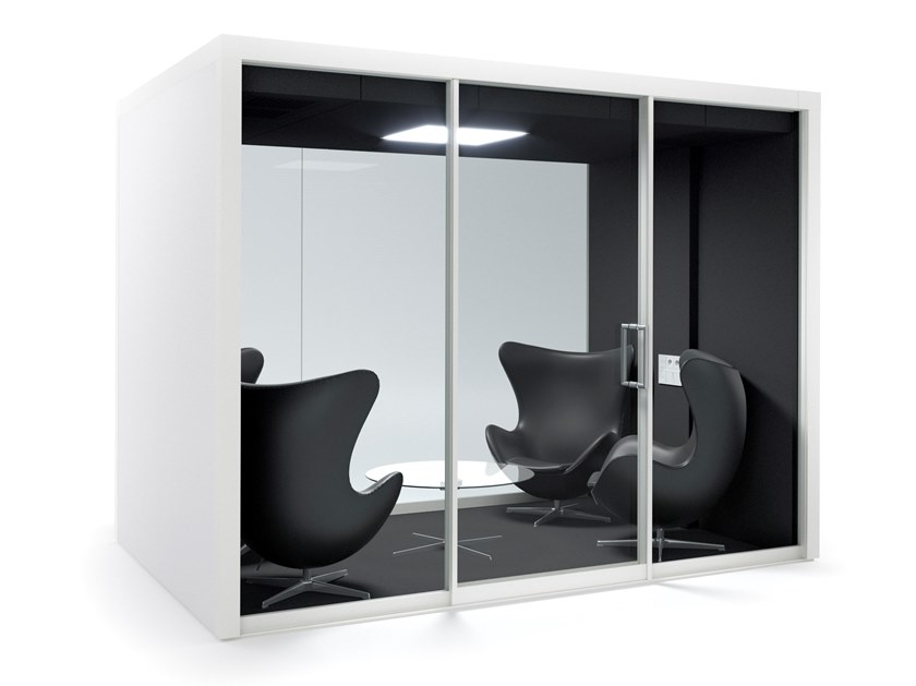 Acoustic multimedia office booth with built-in lights GROUPSPACE L by Vetrospace