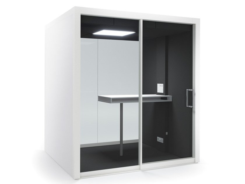 Acoustic multimedia office booth with built-in lights GROUPSPACE M by Vetrospace