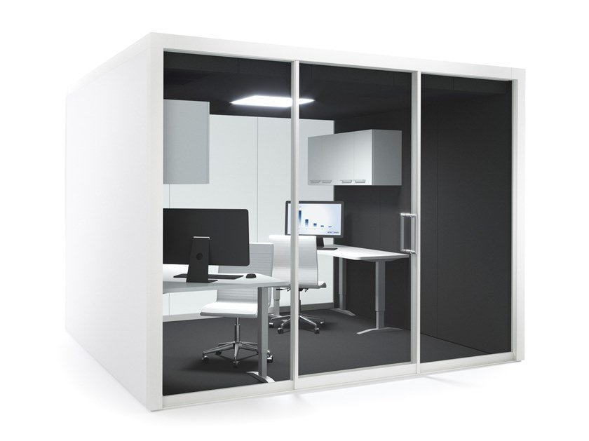 Acoustic multimedia meeting pod with built-in lights GROUPSPACE XL by Vetrospace
