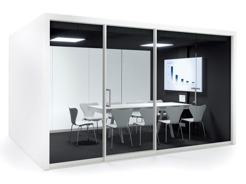 Acoustic multimedia office booth with built-in lights GROUPSPACE XXL by Vetrospace