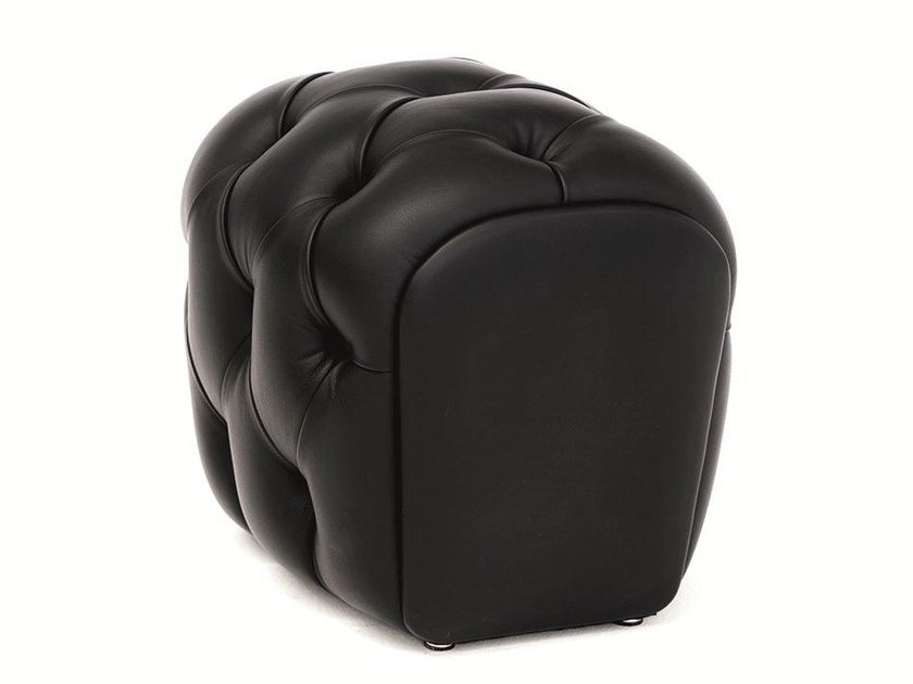Tufted upholstered leather pouf GUELFO | Pouf by Opinion Ciatti