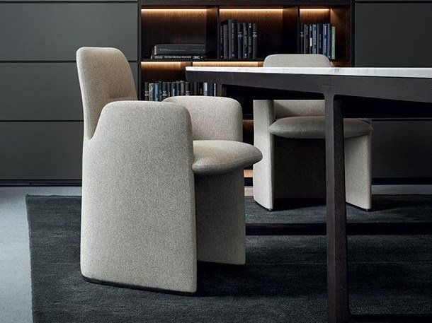 Upholstered fabric chair with armrests GUEST by poliform