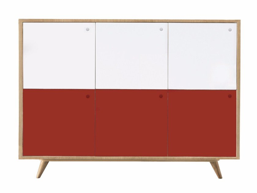 Lacquered wooden sideboard with doors GUSTAV by AZEA