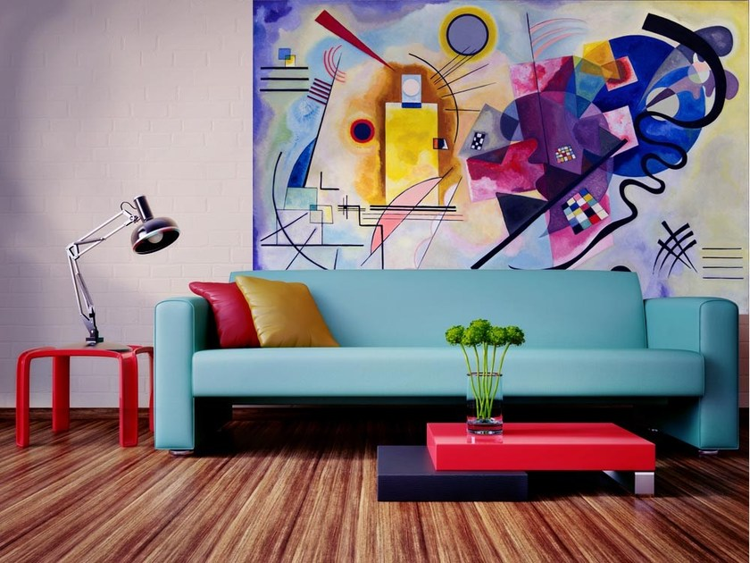Nonwoven wallpaper Yellow, Red and Blue - Kandinsky by MyCollection.it