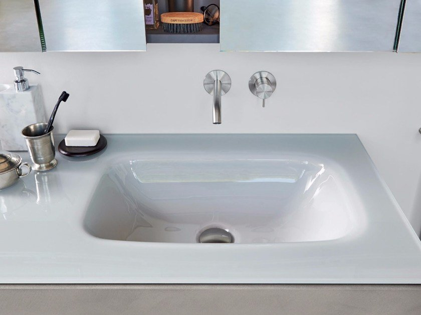 Glass washbasin with integrated countertop GLASS by Rexa Design
