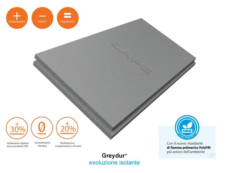 Graphite-enhanced EPS thermal insulation panel Greydur® by Lape HD