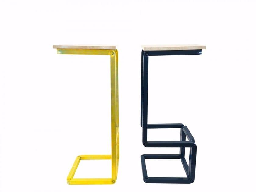 Sgabello alto in acciaio e legno H_STOOLS by Castellani.it