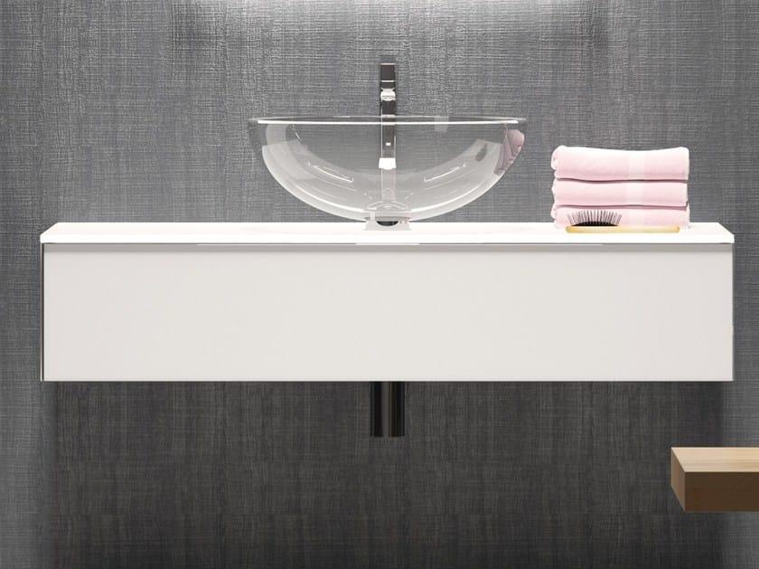 Mobile lavabo singolo sospeso in vetro H24 | Mobile lavabo by Q'in