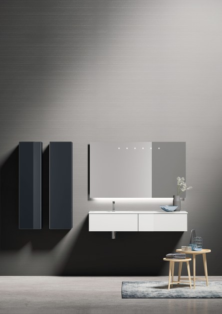 Tall suspended glass bathroom cabinet H24 | Tall bathroom cabinet by Q'in