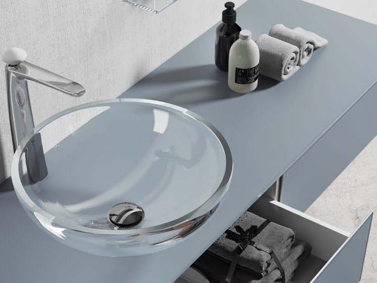 Lavabo da appoggio rotondo in cristallo H24 | Lavabo by Q'in