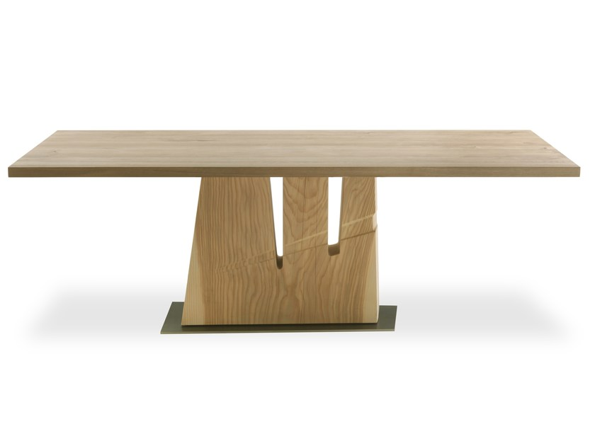 Rectangular solid wood table HACHE by Riva 1920