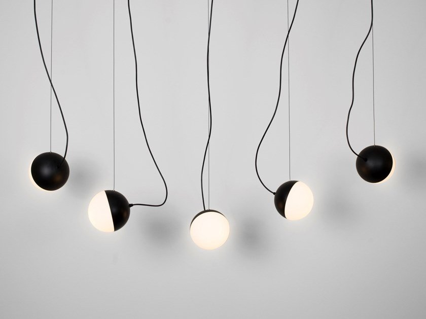 Lampada a sospensione a LED a luce diretta in acciaio in stile moderno HALF 6733+4782 by Milan Iluminacion