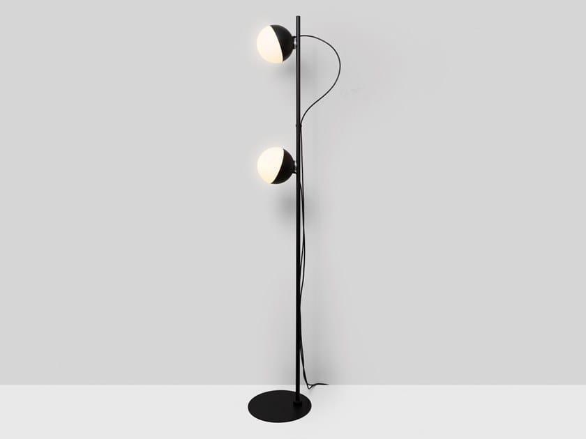 Lampada da terra a LED a luce diretta e indiretta da lettura in acciaio HALF 6742+4777 by Milan Iluminacion