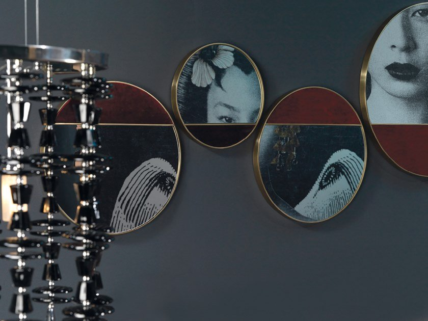 Round wall-mounted mirror HALF MOON by Borzalino