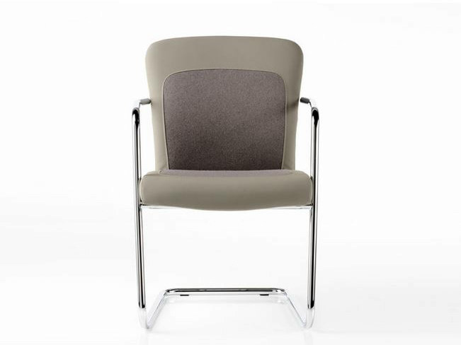 Sled base leather chair with armrests HALFPIPE   Sled base chair by Diemme