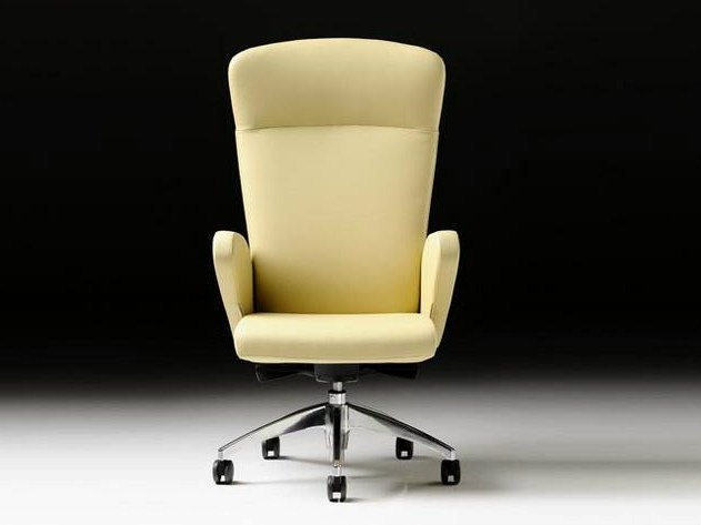 Executive chair with 5-spoke base with armrests HALFPIPE | Leather executive chair by Diemme