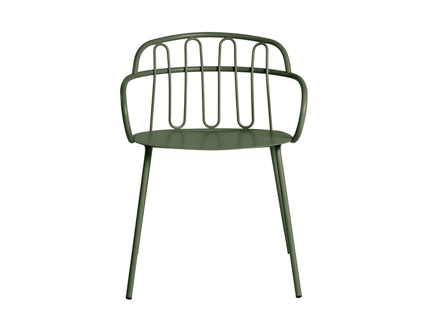 Garden metal easy chair with armrests HALL by CaStil
