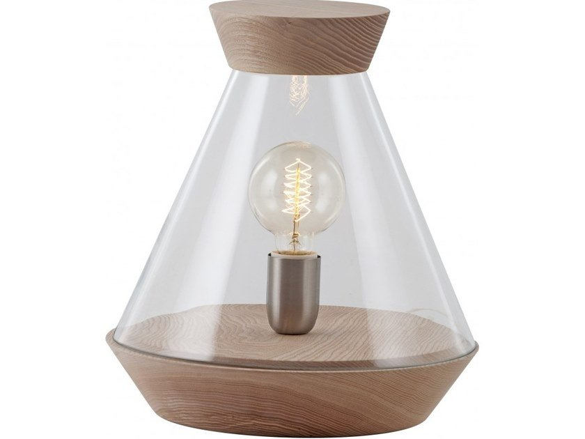Wood and glass table lamp HALO by Flam & Luce