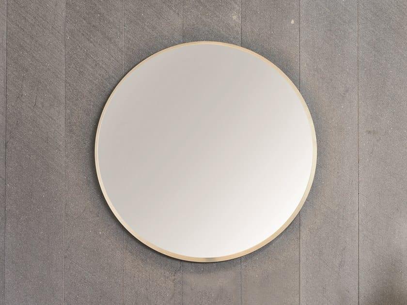 Specchio rotondo a parete con cornice in lamina di bronzo HALO by Rexa Design