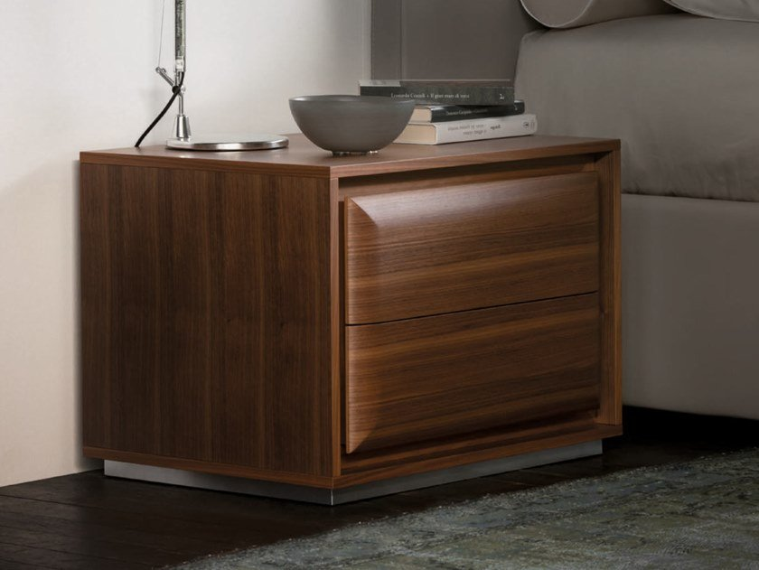 Square walnut bedside table with drawers HAMILTON | Bedside table by Porada