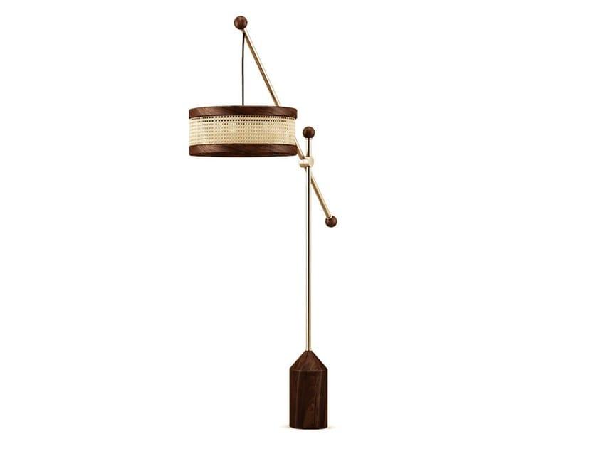 Lampada da terra in legno e ottone HAMILTON by Wood Tailors Club