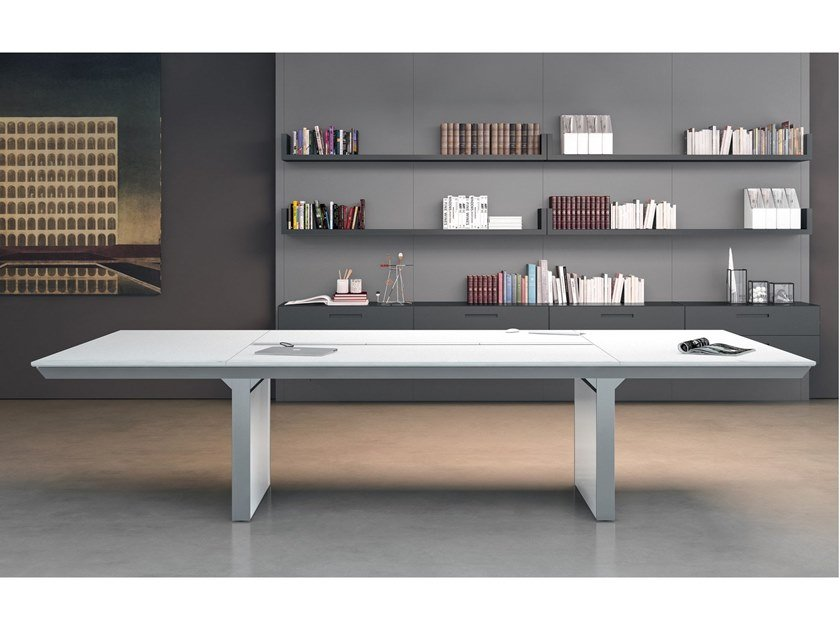 Rectangular leather meeting table HAN   Leather meeting table by Martex