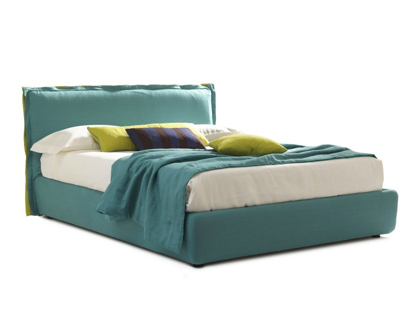 Fabric double bed with upholstered headboard HANDSOME | Double bed by Bolzan Letti