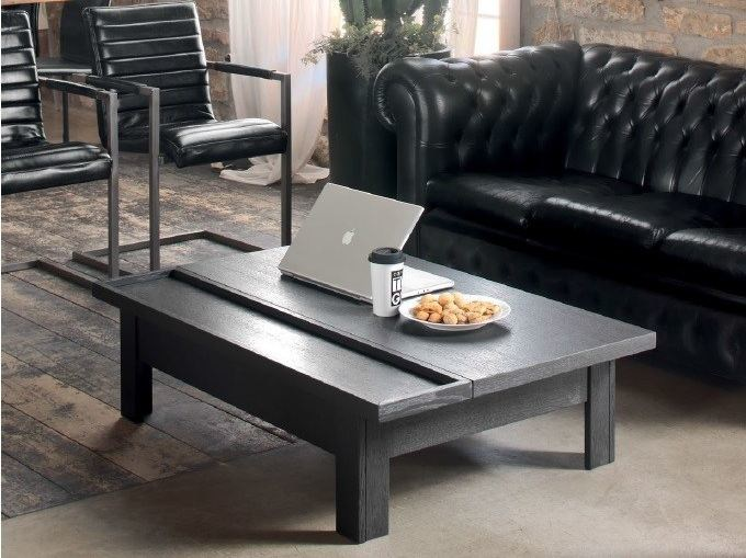 Solid wood coffee table with tray for living room HANDY | Coffee table by Devina Nais