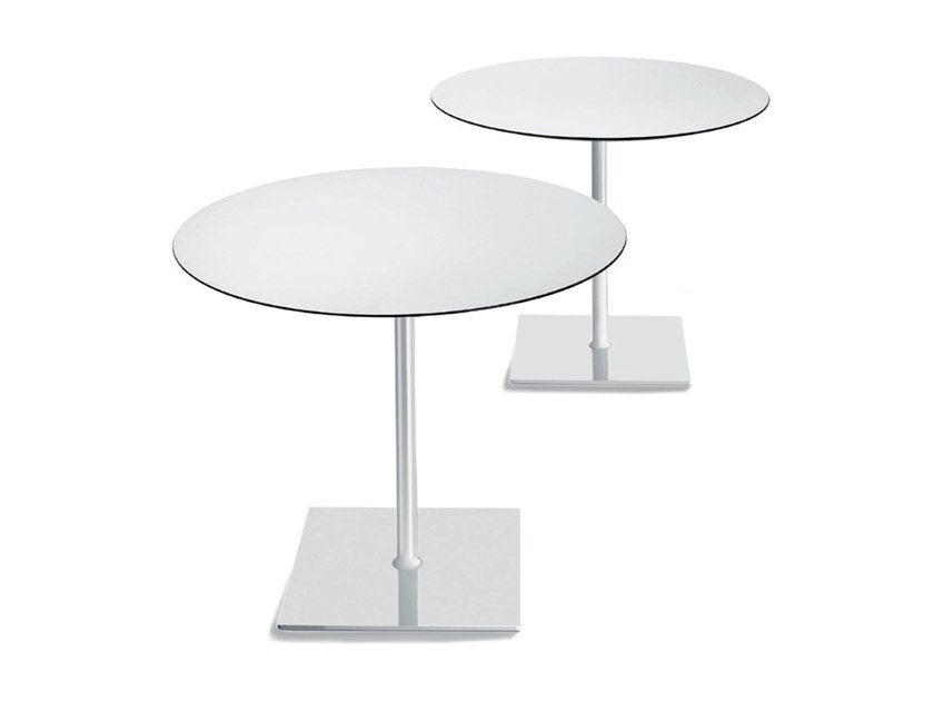 Round chrome plated steel high side table HAPPY by Casprini