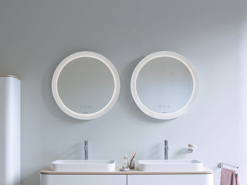 Round wall-mounted mirror set with integrated lighting HAPPY D.2 PLUS | Bathroom mirror by Duravit