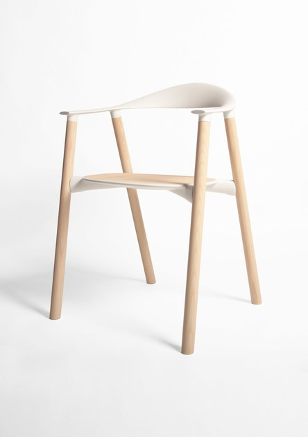 Wooden restaurant chair with armrests with integrated cushion HARA | Chair with armrests by KUBIKOFF