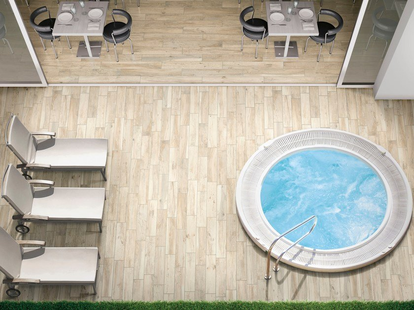 Indoor/outdoor porcelain stoneware flooring with wood effect HARD & SOFT by Ceramica Rondine