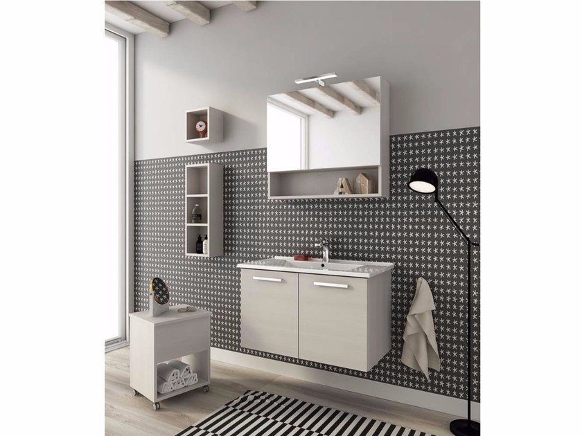 Wall-mounted vanity unit with doors HARLEM H13 by LEGNOBAGNO