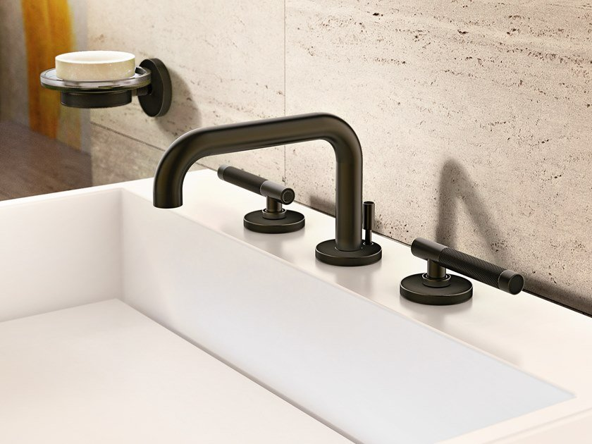3 hole countertop washbasin tap with pop up waste HARLEY | 3 hole washbasin tap by Graff Europe West