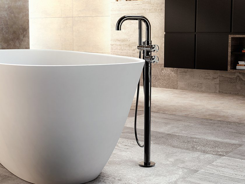 Floor standing bathtub mixer with hand shower HARLEY   Floor standing bathtub mixer by GRAFF