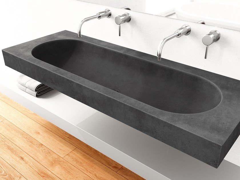 Countertop double concrete washbasin HARMONY by Gravelli