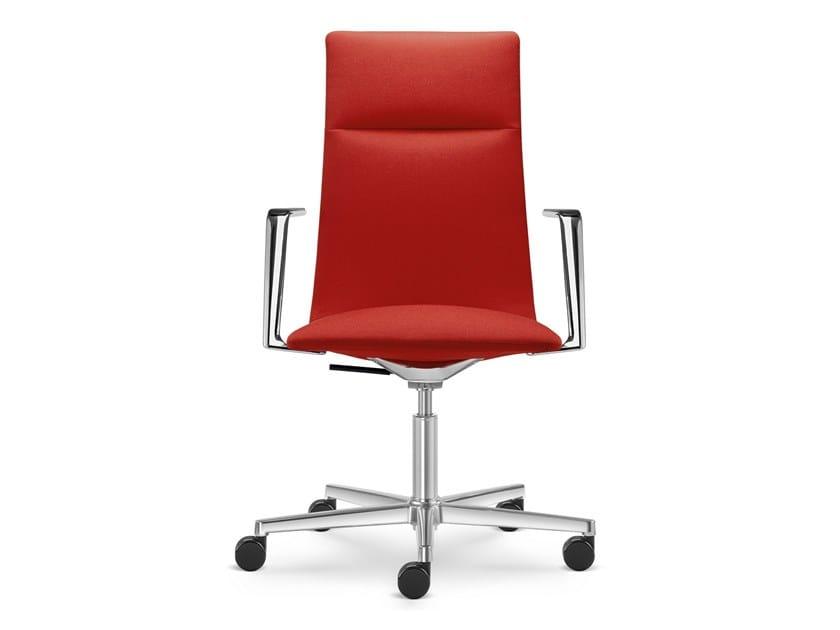 Sedia ufficio in tessuto a 5 razze con braccioli con ruote HARMONY MODERN 885-F37 by LD Seating