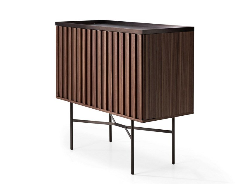 Walnut bar cabinet with integrated lighting HARRI | Bar cabinet by more