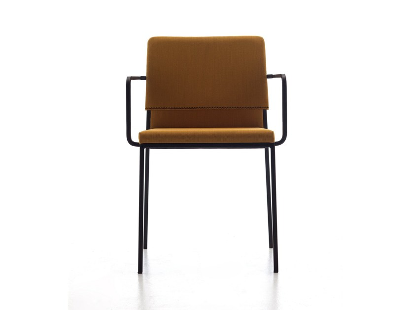 Upholstered fabric chair with armrests HAT | Chair with armrests by arrmet