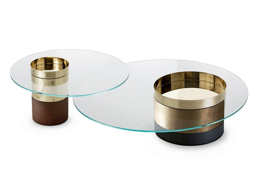 Low tempered glass and brass coffee table HAUMEA | Low coffee table by Gallotti&Radice