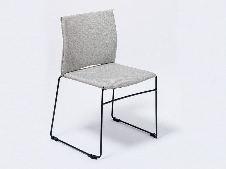 Sled base fabric chair HAUSSMAN by Manganèse Éditions